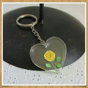 Vintage Heart Reverse Carved Rose Lucite Keychain